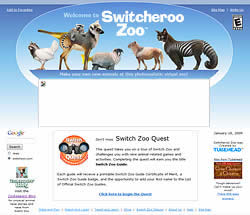 Switch Zoo Home page without Flash seen in Internet Explorer