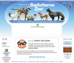 Switch Zoo home page without Flash seen in Mozilla Firefox