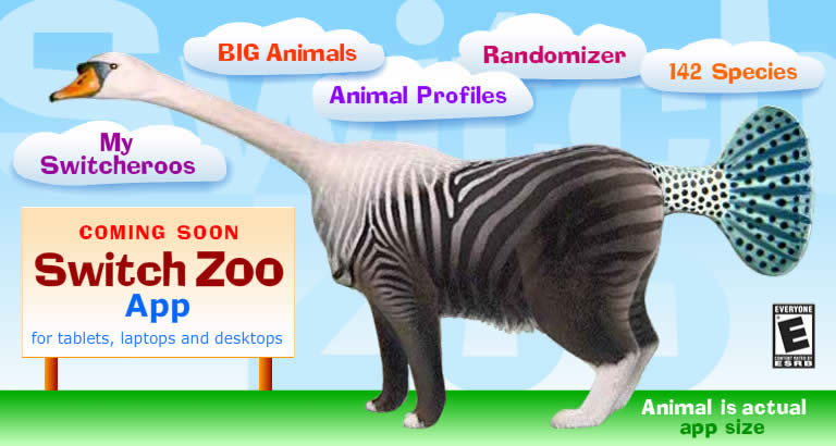 Striped Swan switcheroo standing before clouds with names of Switch Zoo app features