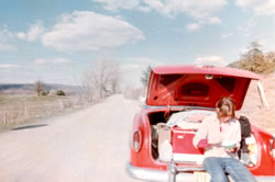 Red '54 Chevy road trip